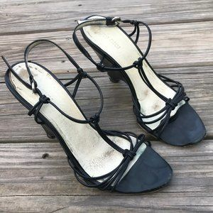 MUI MUI Women SHOES Black Wedge Sandal Sz 37 Italy